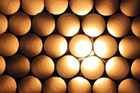 this was my favourite installation made up of horizontally stacked cardboard tubes and interior lights which had a honeycomb affect cardboard tubes