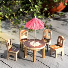 household dining table set christmas snowman knife: set miniature furniture doll ornaments wooden mini dining room table chairs umbrella set toy wood crafts