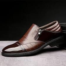 <b>Men</b> Cap Toe Stylish Side Zipper Slip On <b>Business</b> Formal <b>Dress</b> ...