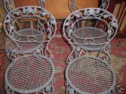 patio chairs metal on fab 4 vintage old wrought iron chairs flowered vine completed antique rod iron patio