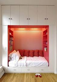 Simple Bedroom Designs For Small Rooms Small Room Wooden Reversible Bed On High Oak Shelves For Small