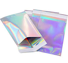 <b>50Pcs Holographic Metallic</b> Poly Mailers Foil Glitter Bag Mailing Self ...