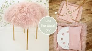 Ikea Marius Hack, pink mongolian <b>Fur stool</b> DIY with gold legs ...