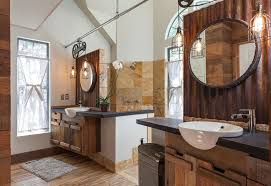 rustic dual sink bathroom with wire cage pendant lights bathroom pendant lighting