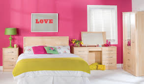 simple girls bedroom design with pink paint colors schemes and light brown maple dresser drawer includes beauteous pink blue