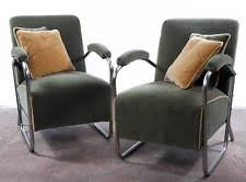 gilbert rohde pair of fabulous 1930s art deco mohair chrome chairs rare art deco chairs