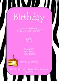 Zebra Pink Birthday Invitation Template