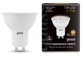 Купить <b>Лампа</b> светодиодная <b>gauss</b> 101506107, GU10, JCDR, 7Вт ...