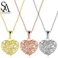 <b>SA SILVERAGE 18K Rose</b> Gold Heart Pendant Necklaces Woman ...