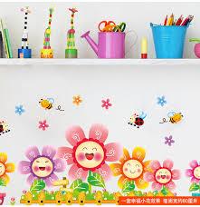 blooming flowers vinyl wall sticker bee animal baby wall decor for kids rooms nursery glass window baby nursery cool bee animal