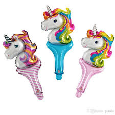 <b>19inch Unicorn</b> Head Balloons Party Hand Stick 48*28CM Foil ...