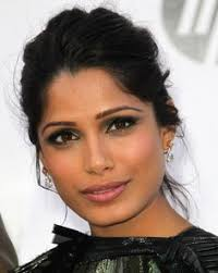 freida pinto with a sultry smoky emerald eye good for um to deep skin like south asian brides with olive skin tones