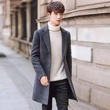 <b>2019 New</b> Long Woolen Trench Coat <b>Men</b> Windbreak Winter ...