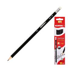 <b>Карандаш чернографитный Kores</b> шестигранный HB с ластиком