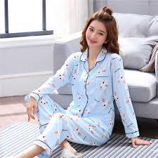 Hot 2018 <b>Spring Autumn</b> Womens <b>Pajama Sets</b> V Neck Cartoon ...