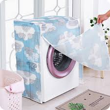 peva floral washing machine cloth dust cover waterproof sunscreen protective case zipper top front lid