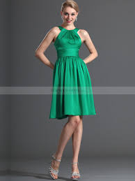 Fitted Bodice Dress Knee Length Satin Chiffon Bridesmaid Dress Fitted Bodice And Pleated Waist