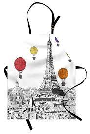 Ambesonne Paris Apron, Greyscale Eiffel Tower and ... - Amazon.com
