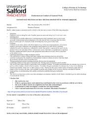Construction Management  College of Science  amp  Technology School of the Built Environment Declaration on Conduct of Assessed Work