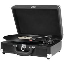 f y e for your entertainment portable victrola suitcase record player bluetooth and 3 speed turntable black