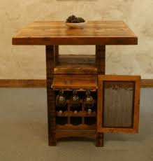 barnwood designs riverwoods pub table with wine cabinet barn wood furniture ideas
