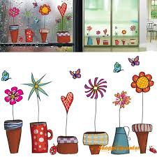 SC   Garden Flower Pot Plant Culture Decal Wall Stickers PVC DIY ...