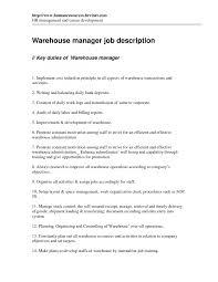 resume  warehouse supervisor job description  moresume coresume