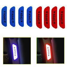 <b>4Pcs</b> / <b>Set</b> Stiker Reflektif <b>DIY</b> untuk Pintu / Exterior / Exterior Mobil ...