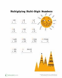 Multi-Digit Multiplication and the Standard Algorithm | Education.comWorksheet. Mutliplying Multi-Digit Numbers. Practice multiplying ...