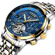 Mens Watches Top Brand Luxury <b>LIGE Automatic Mechanical</b> Watch ...
