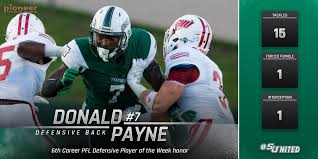 donald payne captures sixth career pfl defensive player of the donald payne captures sixth career pfl defensive player of the week