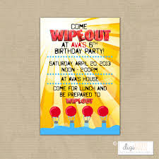water slide invite wipeout birthday party invitation water slide party pool party digital printable