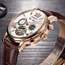 <b>BINSSAW Men</b> Tourbillon <b>Automatic</b> Watch Luxury Leather strap ...