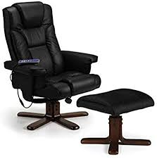 Julian Bowen Malmo Heat <b>Massage Recliner</b> and Footstool, <b>Black</b> ...