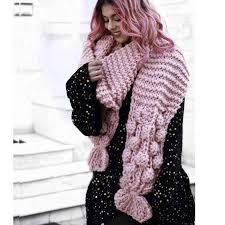Luxury Hand Knitted Scarf <b>3D</b> Woven Balls Wraps XL <b>Coarse</b> Wool ...