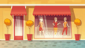 <b>Cartoon</b> shop-window of <b>boutique</b>, <b>clothing</b> market. commercial mall ...