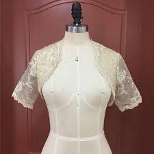 <b>Vintage Champagne</b> Lace Short Sleeves Bridal Bolero <b>Custom</b> ...