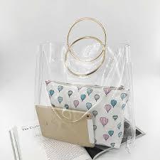 <b>2pcs Women Transparent</b> Bag <b>Jelly</b> Bags Candy Summer Beach ...