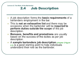 lesson  the role of the bartender creating a unique experience    lesson   the role of the bartender   job description a job description forms the