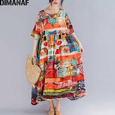 <b>DIMANAF Plus Size Women</b> Print Dress Summer Sundress Cotton ...
