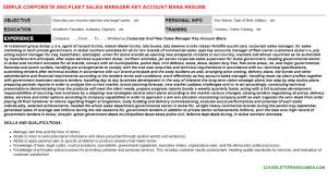 Corporate And Fleet Sales Manager Key Account Mana Resume Sample