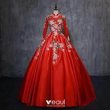 <b>Chinese style Vintage</b> / <b>Retro</b> Red Quinceañera Prom Dresses 2019 ...