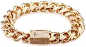 Men's <b>Bracelets</b> Stainless Steel Men's <b>Electric</b> Gold Diamond Hip ...