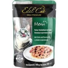<b>Паучи</b> Edel <b>Cat</b> Menu нежные кусочки в соусе с уткой и кроликом ...