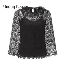 <b>Young Gee Spring</b> Lace Hollow Out Floral Blouse Elegant <b>Women</b> ...