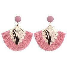 Fashion <b>new</b> bohemian fan shaped tassel earrings <b>exaggerated</b> ...