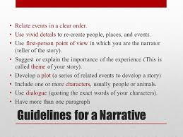 narrative essay students will write a narrative essay analyzing a  guidelines for a narrative relate events in a clear order use vivid details to re