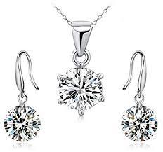 Buy <b>Genuine 925 Sterling</b> Silver Office Wear Pendant & Earrings Set ...