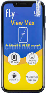 Купить Смартфон <b>FLY View</b> Max 16Gb, синий в интернет ...