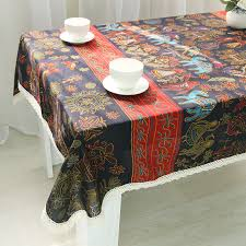 rectangular dining table cover cloth knitted vintage: bohemian classical table cloth dustproof customized size tablecloths nappe cover lace craft for dining banquet party